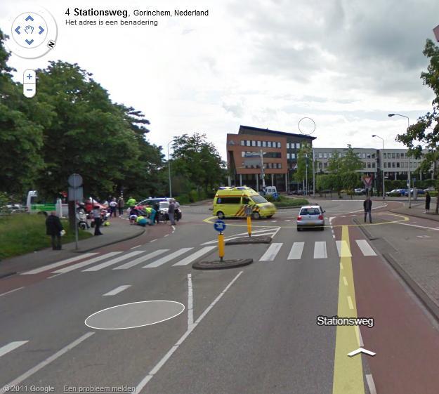 Ongeluk bij stadhuis Gorinchem in Google streetview